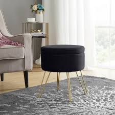 Modern Round Velvet Storage Ottoman Foot Rest Stool Seat With Gold Metal Legs Tray Top Coffee Table Black Walmart Com Walmart Com