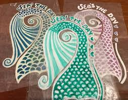 Seas The Day Blue And Green Hand Painted Mermaid Tail Decal Etsy