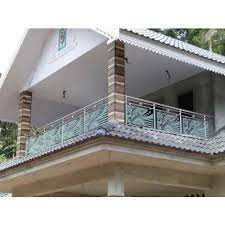 silver ss balcony glass railing rs