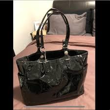 coach bags black patent leather purse