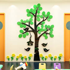 Childrens Room Flower And Bird Big Tree Wall Sticker 3d Stereo Kindergarten Cartoon Wall Decoration Classroom Culture T200421 Decal For Walls Decal House From Xue10 13 54 Dhgate Com