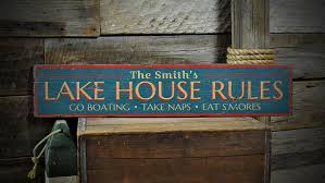 custom lake house rules sign rustic