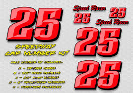 Red Speedway Race Car Numbers Decal Kit Racing Graphics Race Car Lettering