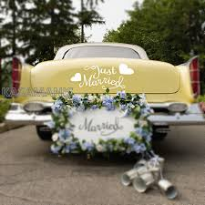 Just Married With Hearts Quote Car Window Decals Sticker Wedding Decor Romantic Vinyl Wall Art Sticker Murals Bedroom Decoration Wall Stickers Aliexpress