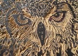 Carved Eagle Owl Relief by Julia Forsyth