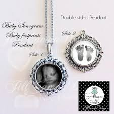 baby sonogram and footprint necklace