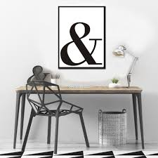 Typographic Ampersand Symbol Bold Modern Black And White Canvas Poster Nordicwallart Com