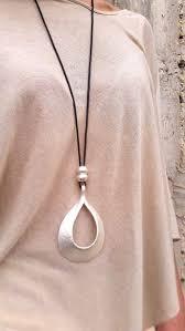 drop silver pendant long necklace
