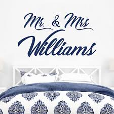 Mr Mrs Wall Decal Bedroom Decor Family Name Decal Mr And Etsy