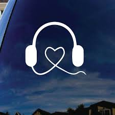 Music Love Headphones Kpop Car Window Vinyl Decal Sticker
