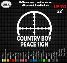 Country Boy Peace Sign Vinyl Decal Sticker Deer Truck Decals Etsy