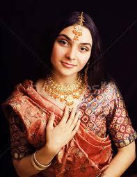 real indian in sari smiling