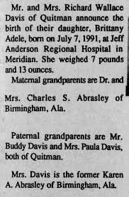 Brittany Adele Davis birth announcement - Newspapers.com