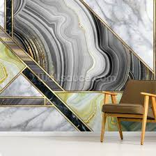 teal and gold art deco wall mural