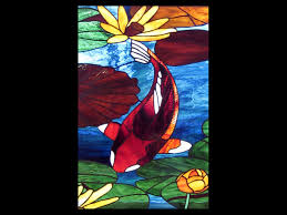 koi lily pad and reeds stained glass