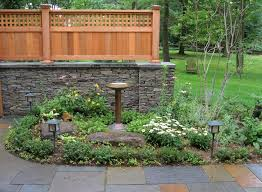 Wood And Stone Fence Designs With Pbluestone Patio Stone Garden Walls And Custom Wood Fence Backyard Fences Backyard Garden Planters Diy