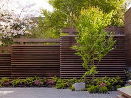 Staggered Horizontal Fence Perfect For Privacy On Sloping Ground Fence Design Modern Fence Fence Landscaping