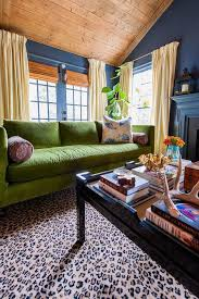 green velvet couch with black tray