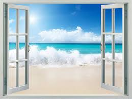 Amazon Com Walls 360 Peel Stick Faux Window Wall Decal White Sand Beach With Ocean Spray 24 In X 18 In Kitchen Dining