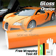 Gloss Glossy Orange Car Vinyl Wrap Sticker Decal Air Release Bubble Free Film Ebay