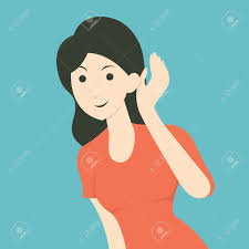 cartoon character of woman listening to