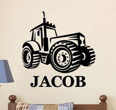 Personalized Name Farm Tractor Kids Childrens Vinyl Wall Decal Sticker Boys Room For Sale Online
