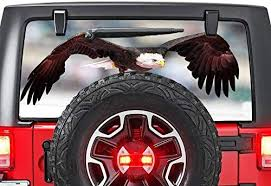 Amazon Com Gold Fish Decals Rear Window Perforated See Thru Graphic Decal Sticker Eagle 3 Compatible With Jeep Wrangler Jk Rubicon Automotive