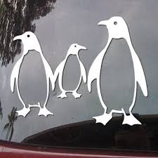 Amazon Com Penguin Family Vinyl Car Sticker Symbol Silhouette Keypad Track Pad Decal Laptop Skin Ipad Macbook Window Truck Motorcycle Automotive
