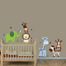 Amazon Com Green Envy Jungle Wall Decals Jungle Animal Stickers Kids Wall Stickers Baby