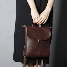 full grain leather backpack women