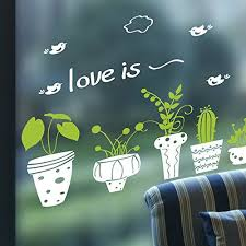 Kaimao Fresh Green Potting Eyeprotective Wall Stickers Removable Murals Home Decor For Bedrooms Living Room Wall Stickers Murals Decal Wall Art Wall Stickers
