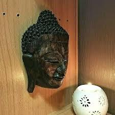 vintage art large buddha face wood hand