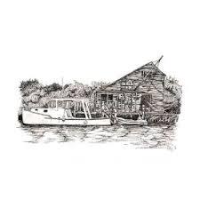Man-O-War Cay, Bahamas Drawing by Polly Harrison