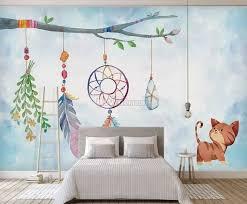 Watercolor Colorful Feather Wallpaper Mural Wallmur