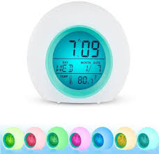 Amazon Com Wensltd Alarm Clock Digital Alarm Clock With Wake Up Light 7 Nature Sound Indoor Temperature And Calendar Nice Gift And Decor For Kids Bedroom White Sports Outdoors