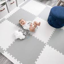 Amazon Com Baby Play Mat Tiles Extra Large Thick Foam Floor Puzzle Mat Interlocking Playmat For Infants Toddlers Kids Babies Crawling Tummy Time 74 X 74 Grey White Toys Games