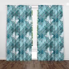 Butterfly Girls Room Cute Light Turquoise Blue Kids Nursery Window Curtains