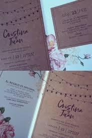 Invitacion Triptico En Papel Opalina Y Kraft Con Motivo Floral