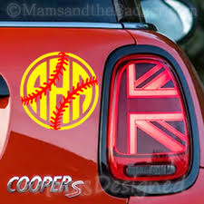 Custom Baseball Or Softball Monogram Vinyl Decal Initial Bumper Sticker For Tumblers Laptops Car Windows Player Name Single Letter Sports Design Stickers