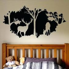 Forest Animals Wall Decal Country Hunting Design Window Wall Mural Forest Vinyl Wall Sticker Home Bedroom Decor Hunting Bedroom Decor Autoiq Co