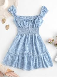 smocked printed sleeveless a line dress
