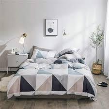 geometric triangle cotton duvet cover