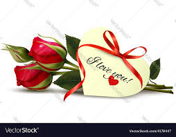 two red roses with an i love you note