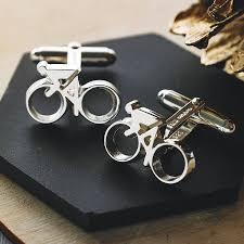 silver cycling cufflinks by english
