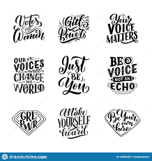 set of lettering quotes about w voice and girl power