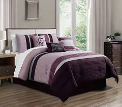 7pc queen purple white pin stripe