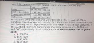 Solved: 6. Perry Acquired Sanders For $400,000 On 12/31/X0... | Chegg.com