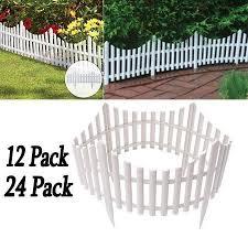 12 24pcs White Flexible Plastic Garden Picket Fence Lawn Grass Edge Edging Border 24 48 Ft Walmart Com 12 In 2020 Grass Edging Plastic Lawn Edging Picket Fence