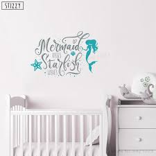 Stizzy Wall Decal Beautiful Cartoon Mermaid Vinyl Wall Sticker Quotes Kisses Starfish Wishes Girls Bedroom Decoration Decor B224 Wall Stickers Aliexpress