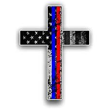 Amazon Com Thin Blue And Red Line Cross Usa Flag Vinyl Decal American Flag Window Sticker Blue And Red Stripe For Cars Trucks Laptops Etc For Honor And Support Of Our Officers Firefighters Emt